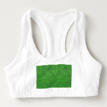 Green Grass Texture Abstract Background Sports Bra