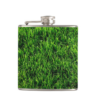 Green grass texture from a soccer field flask