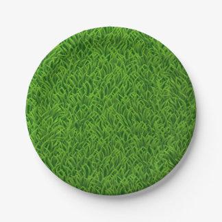 Green grass texture paper plate