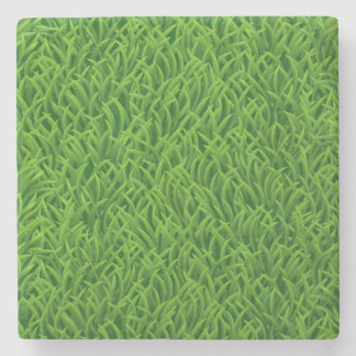 Green grass texture stone coaster