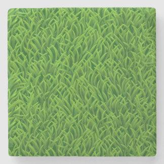 Green grass texture stone coaster