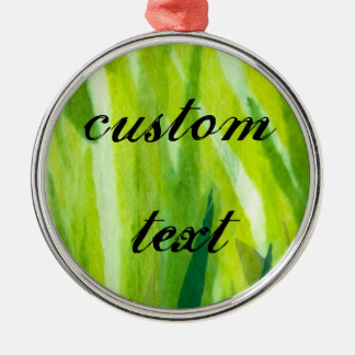 Green Grass Torn Tissue Paper Collage Metal Ornament