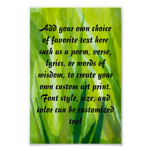 Green Grass Torn Tissue Paper Collage Poster