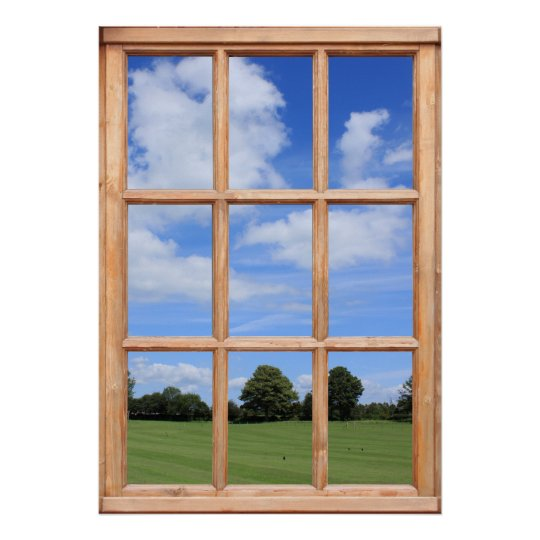 Green Grass Trees And Blue Sky Faux Window View Poster