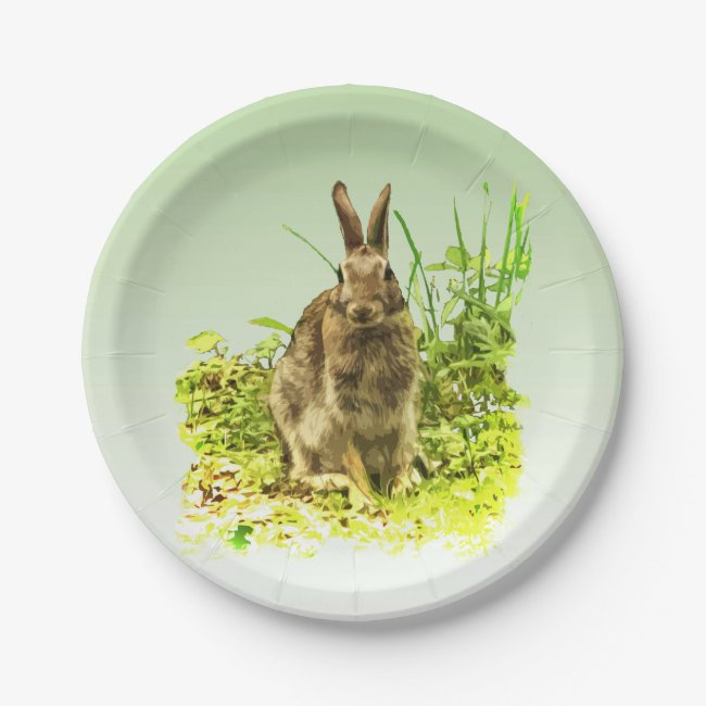 Green Grass with Brown Bunny Rabbit Paper Plate