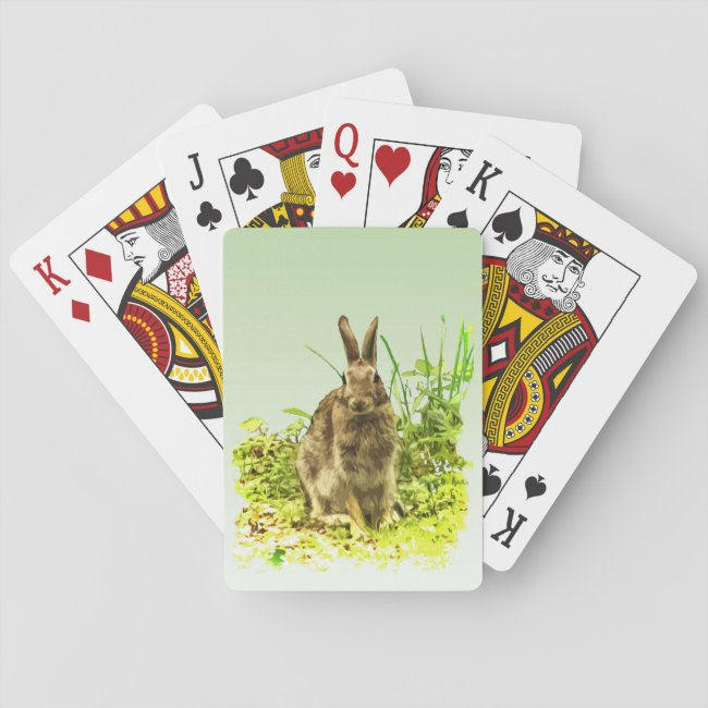 Green Grass with Brown Bunny Rabbit Playing Cards