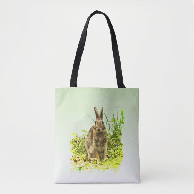 Green Grass with Brown Bunny Rabbit Tote Bag