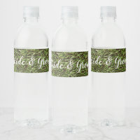 Green grass with name on the grass water bottle label