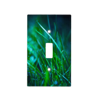 Green Grass With Water Drops For Spring Background Light Switch Cover