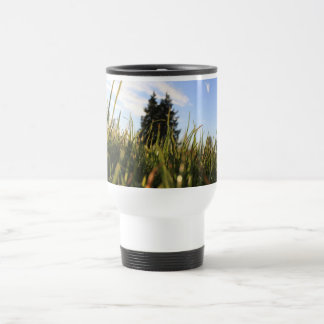 green grasses and blue sky, early summer time, sun coffee mugs