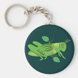 Green Grasshopper Basic Round Button Keychain