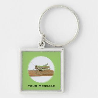Green Grasshopper Cartoon Luggage & Laptop Tag Keychain