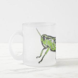 Green Grasshopper Retro Graphic Frosted Glass Coffee Mug