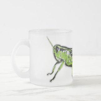 Green Grasshopper Retro Graphic 10 Oz Frosted Glass Coffee Mug