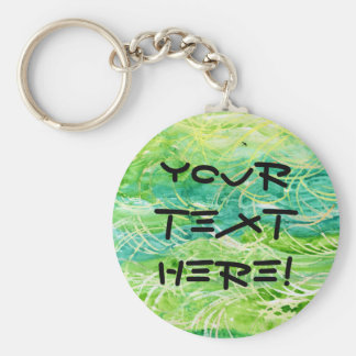 Green Grassy Abstract Watercolor For Personalizing Basic Round Button Keychain