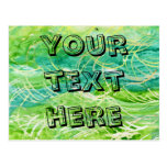 Green Grassy Abstract Watercolor For Personalizing Post Card