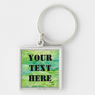 Green Grassy Abstract Watercolor For Personalizing Silver-Colored Square Keychain