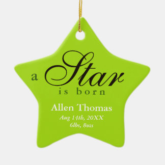 Green gray a star is born baby name announcement ceramic ornament