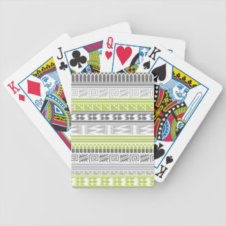 Green Gray Abstract Aztec Tribal Print Pattern Bicycle Playing Cards