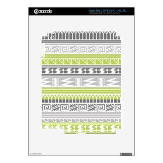 Green Gray Abstract Aztec Tribal Print Pattern iPad 3 Skin