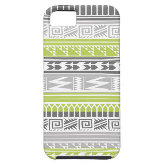 Green Gray Abstract Aztec Tribal Print Pattern iPhone 5 Case