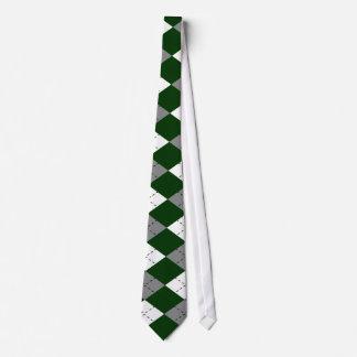 Green, Gray And White Argyle Necktie