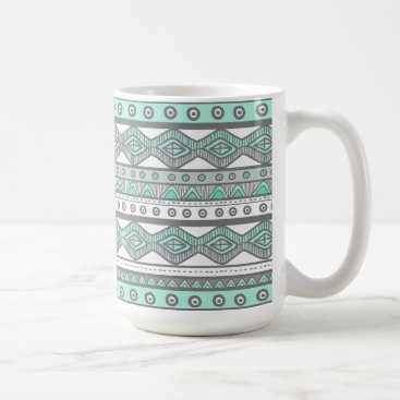 Aztec Themed Green Gray Aztec Stylish Modern Trendy Coffee Mug