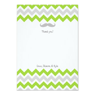 Green & Gray Chevron Mustache Baby Thank You Notes 5x7 Paper Invitation Card