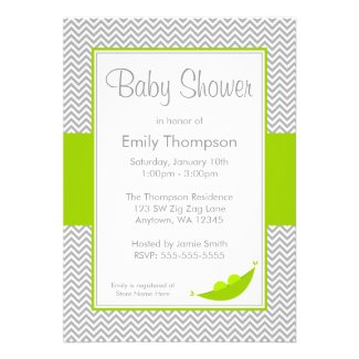 Green Gray Chevron Pea Pod Baby Shower Invitations