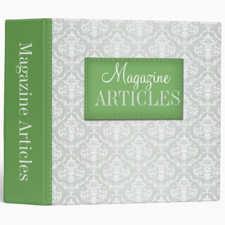 "Green & Gray Damask Magazine Articles 2"" Binder"