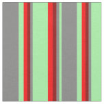 [ Thumbnail: Green, Gray, Dark Red & Red Lines/Stripes Pattern Fabric ]