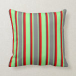 [ Thumbnail: Green, Gray, Dark Red & Red Lines/Stripes Pattern Throw Pillow ]