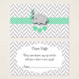 Green Gray Elephant Baby Shower Diaper Raffle Business Card