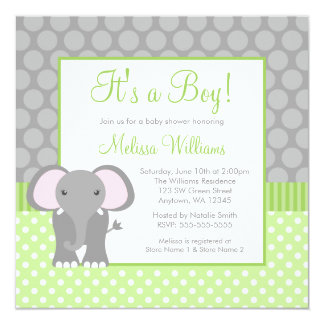 Green Gray Elephant Polka Dot Boy Baby Shower 5.25x5.25 Square Paper Invitation Card