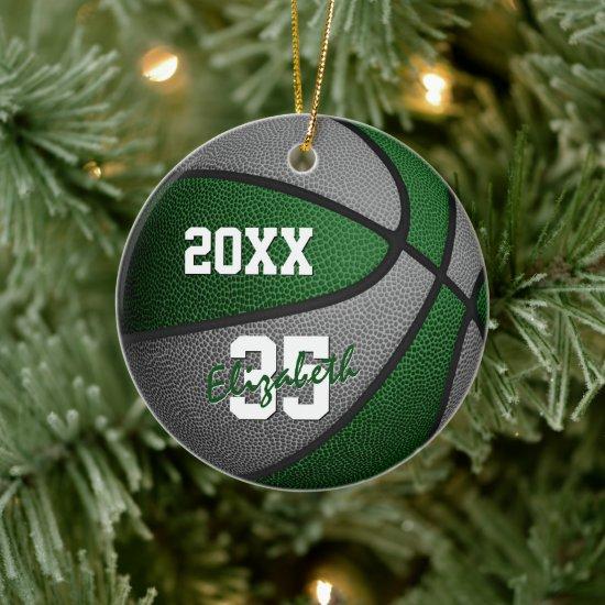 green gray girls boys team colors basketball ceramic ornament