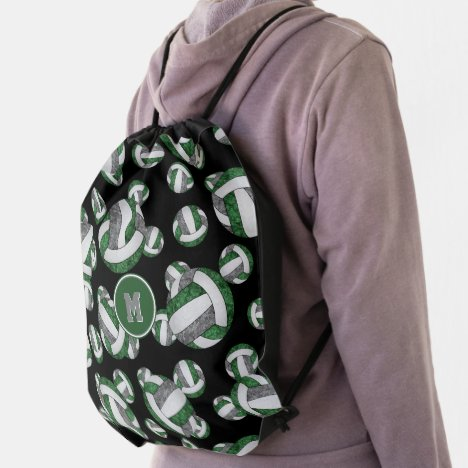 green gray girls volleyball team colors drawstring bag
