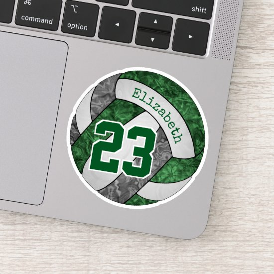 green gray girls' volleyball w player name number sticker