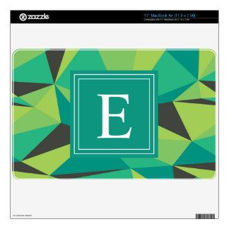 Green Gray Grey Monogram Triangle MacBook Decals