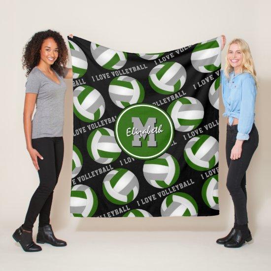 green gray I love volleyball text sports decor Fleece Blanket