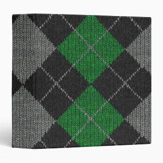 Green & Gray Knit Argyle Pattern 3 Ring Binder