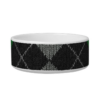 Green & Gray Knit Argyle Pattern Bowl