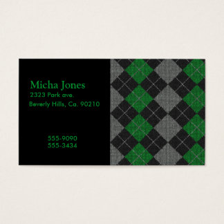 Green & Gray Knit Argyle Pattern Business Card
