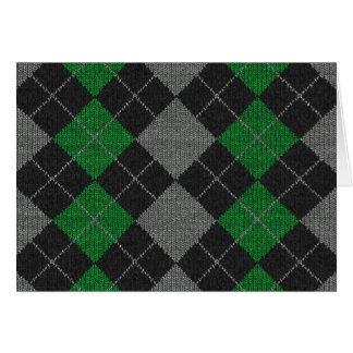 Green & Gray Knit Argyle Pattern Card