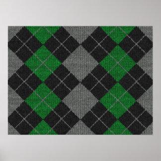 Green & Gray Knit Argyle Pattern Poster