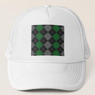 Green & Gray Knit Argyle Pattern Trucker Hat