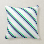 [ Thumbnail: Green, Gray, Midnight Blue, Powder Blue & White Throw Pillow ]