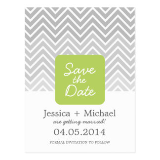 Green Gray Ombre Chevron Wedding Save The Date Postcard