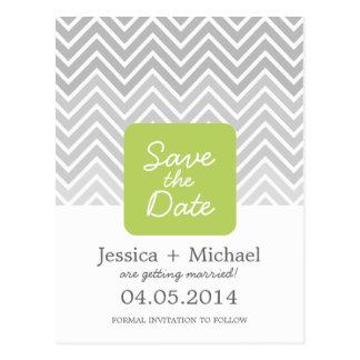 Green Gray Ombre Chevron Wedding Save The Date Postcard