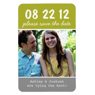 Green & Gray Photo Save The Date Magnet