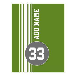 Green Gray Racing Stripes Custom Name Number Postcard